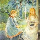 1892 Young girls in front of  the window - A3 Poster