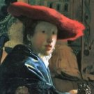 Girl with red hat by Vermeer - 30x40 IN Canvas