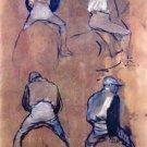 Four studies of Jockeys by Degas - 30x40 IN Canvas