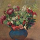 Papavers and Carnations in a Blue Vase - Poster Print (24 X 18 Inch)