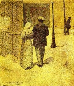 Man and woman on the street by Agrande - A3 Poster