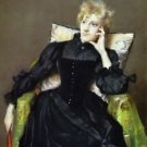 Seated Woman in Black Dress, 1890 - 24x32 IN Canvas