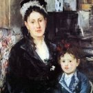 Portrait of Mme Boursier and Daughter by Morisot - 24x32 IN Canvas