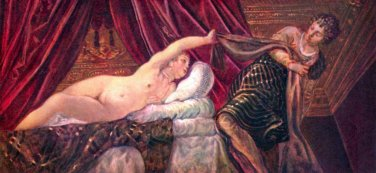 Joseph and the wife of Potiphar by Tintoretto - 24x18 IN Canvas
