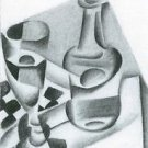 Carafe, glass and chessboard by Juan Gris - A3 Paper Print