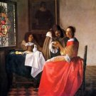Girl with a wine glass by Vermeer - 30x40 IN Canvas