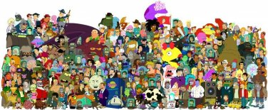 Vinteja charts of - Futurama Characters - A3 Paper Print