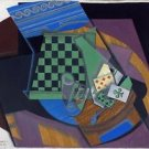 Juan Gris - Checkerboard and playing cards - A3 Paper Print