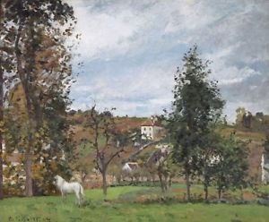 Landscape with a White Horse in a Meadow, L'Hermitage, 1872 - 24x32 IN Canvas