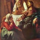 Christ with Mary and Martha by Vermeer - 30x40 IN Canvas