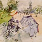Lady with a Parasol Sitting in a Park - 1885 - 24x18 IN Canvas