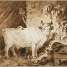 White bull and a dog in the barn - Poster (24x32IN)