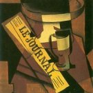 Fruit bowl, glass and newspaper_lg by Juan Gris - 24x18 IN Canvas