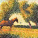 Horse and wagon by Seurat - 24x18 IN Canvas