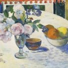 Gauguin - Flowers and a Bowl of Fruit on a Table - Poster (24x32IN)
