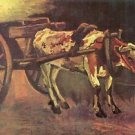 Ox carts with brown Ox by Van Gogh - Poster (24x32IN)