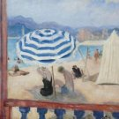 Cannes, Blue Parasol and Awning - 24x18 IN Canvas