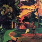 Landscape With Peacocks by Gauguin - A3 Poster