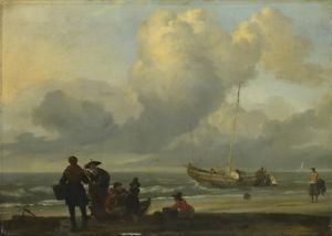 Ludolf Bakhuizen - A Beach Scene with Fishermen - 30x40IN Canvas Painting