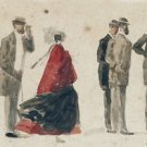 Crinoline and Men with Hats, 1866 - 30x40 IN Canvas
