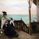 In a villa on the beach by Morisot - 24x18 IN Canvas