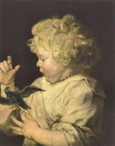 Portrait of a child with bird by Van Dyck - 30x40 IN Canvas