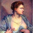 Portrait of a woman with bare breasts by Tintoretto - 30x40 IN Canvas