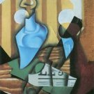 Still Life with bottle and glass by Juan Gris - 30x40 IN Canvas