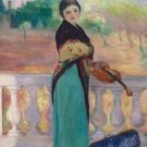 Marthe Lebasque with Violin, St. Tropez, 1920 - A3 Poster