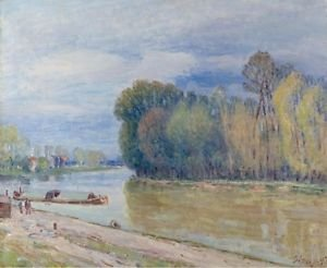 The Channel of Loing in Spring - Morning, 1897 - 24x18 IN Canvas