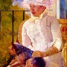 Woman with a Dog by Cassatt - 24x32 IN Canvas