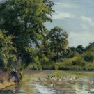 Old Woman with Ducks at Montfoucault, 1875 - 24x18 IN Canvas