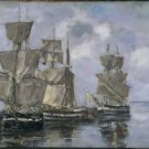 Ships in the Port of Honfleur, 1856 - 24x18 IN Poster