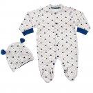 Newborn baby boy romper overall ecru navy blue