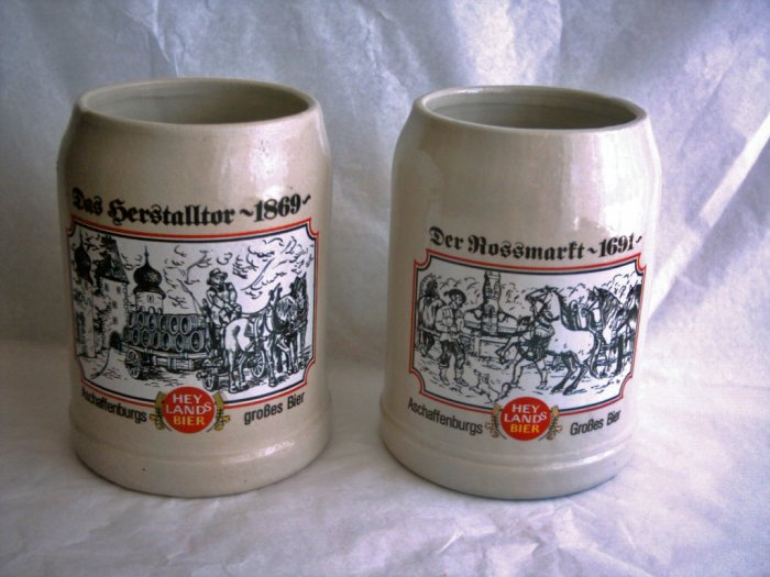 Collectible Krugs, Hey Lands Bier, Set of 2, Lot 1