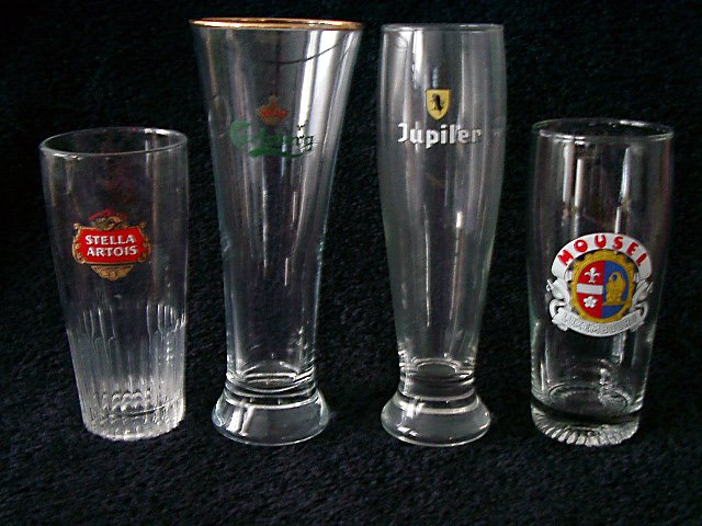 Set of 4 Assorted Pilsener Beer Glasses