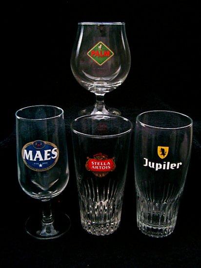 4 Assorted Lager Belgain Beer Glasses