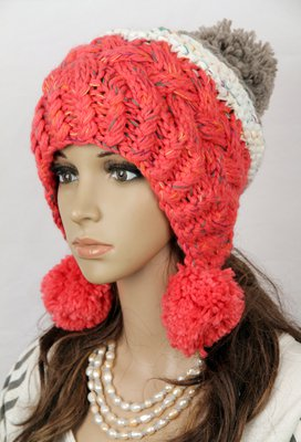 Women winter warm beanie thick knitting