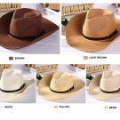 Mens summer beach COWBOY STRAW hat shapeable Panama Sun Western cap Raffia Rodeo