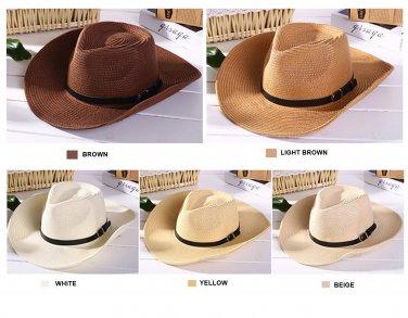Mens summer beach COWBOY STRAW hat shapeable Panama Sun Western cap Raffia Rodeo