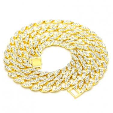 "JayZ cuban franco Miami chain link chunky Iced Out Crystal diamonds necklace 30"""