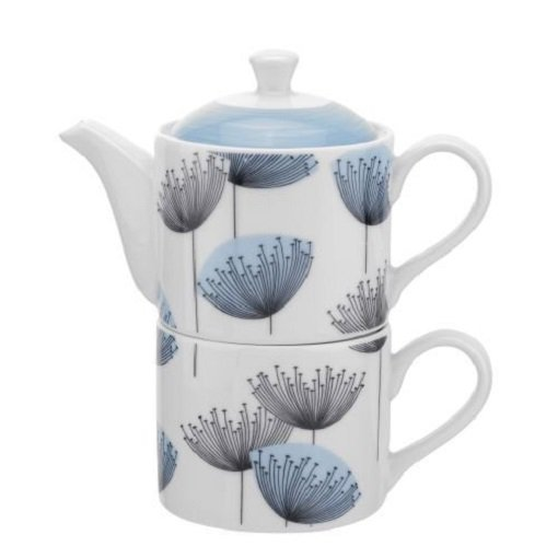 Portmeirion Sanderson Blue Dandelion Clocks Tea for One Teapot / Mug Porcelain