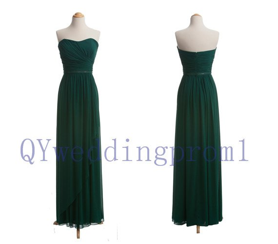 2015 New long chiffon evening dress, simple chiffon PROM dress, cheap bridesmaid dresses
