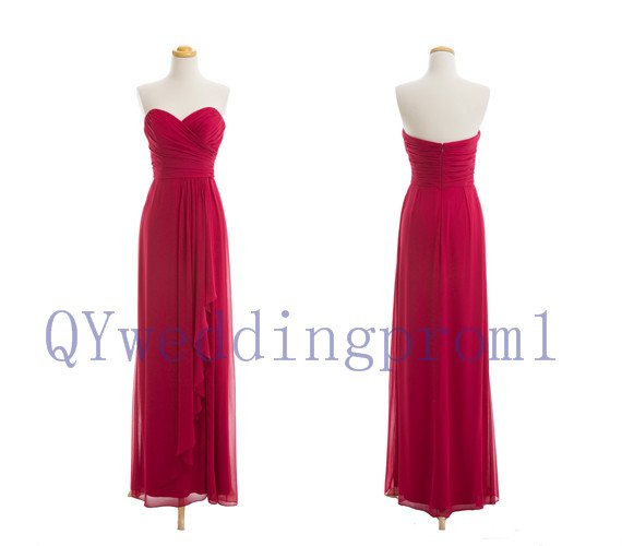2015 New red long evening dress, simple chiffon PROM dress, cheap bridesmaid dresses