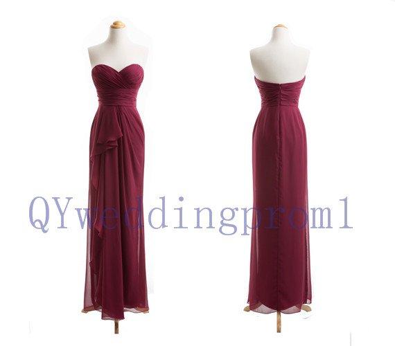 2015 New long evening prom dress, simple chiffon PROM dress, bridesmaid dresses,custom size color