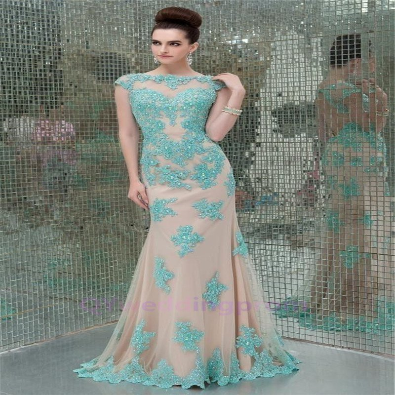 2015 New custom New Lace Applique Long Pageant Evening Prom Ball Bridal Party Gown Wedding Dress