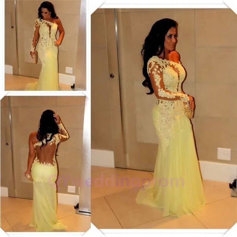 2015 New custom Long Prom Evening Dress Mermaid One Shoulder Sheer Lace Formal Party Gown