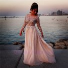 2015 New custom Sequins Prom Dresses Long Sleeve Chiffon Formal Evening Party Cocktail Ball Gown