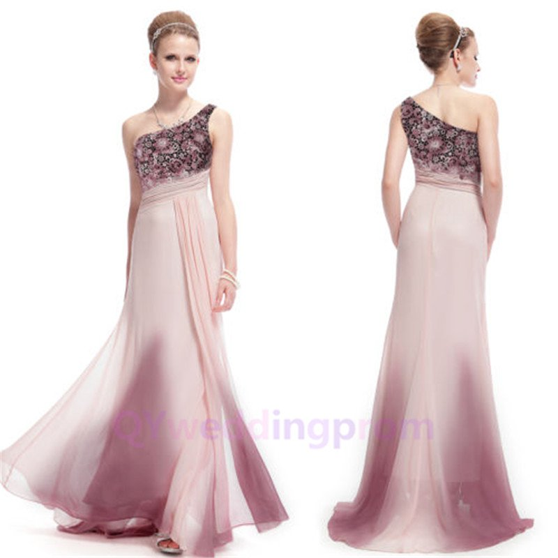 2015 New custom Ladies One Shoulder Pink Long Evening Party Dresses Formal Prom Gown