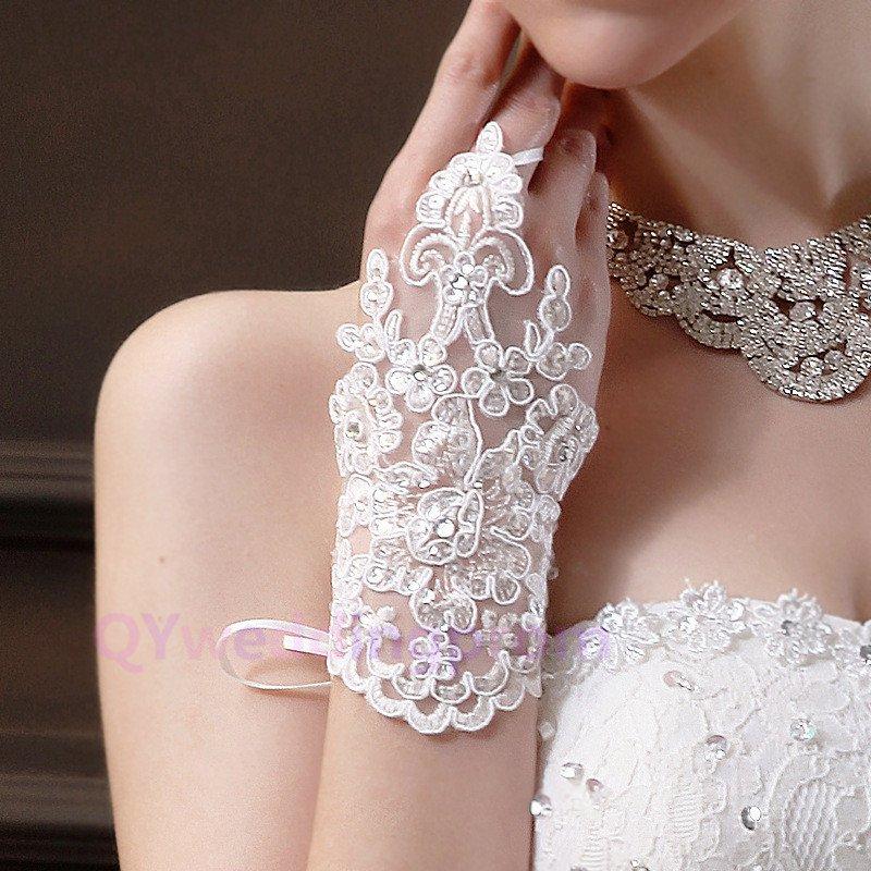 bride wedding beaded beaded lace gloves hook finger gloves wedding gloves new short section